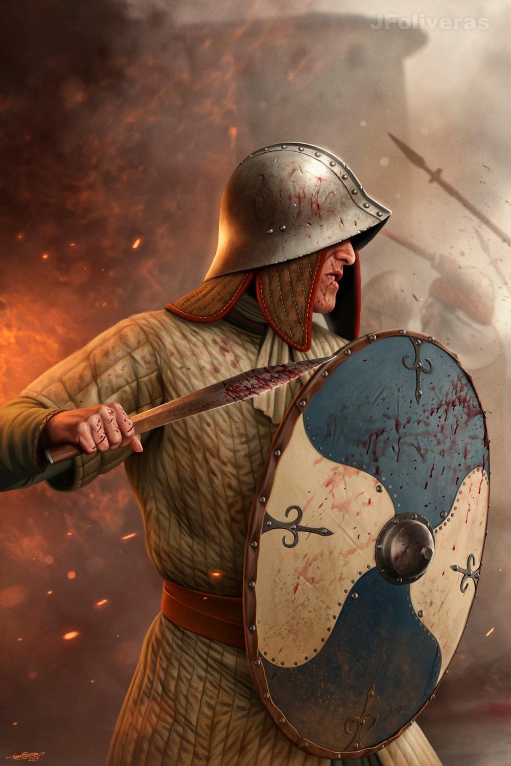 Carolingian infantryman. Frankish soldier, 8th-10th centuries.jpg