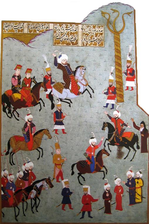 Султан Мехмед II Завоеватель и Змеиная колонна. Миниатюра Наккаша Османа из рукописи «Хюнер-наме» Сейида Локмана. 1584–1588 гг..jpg