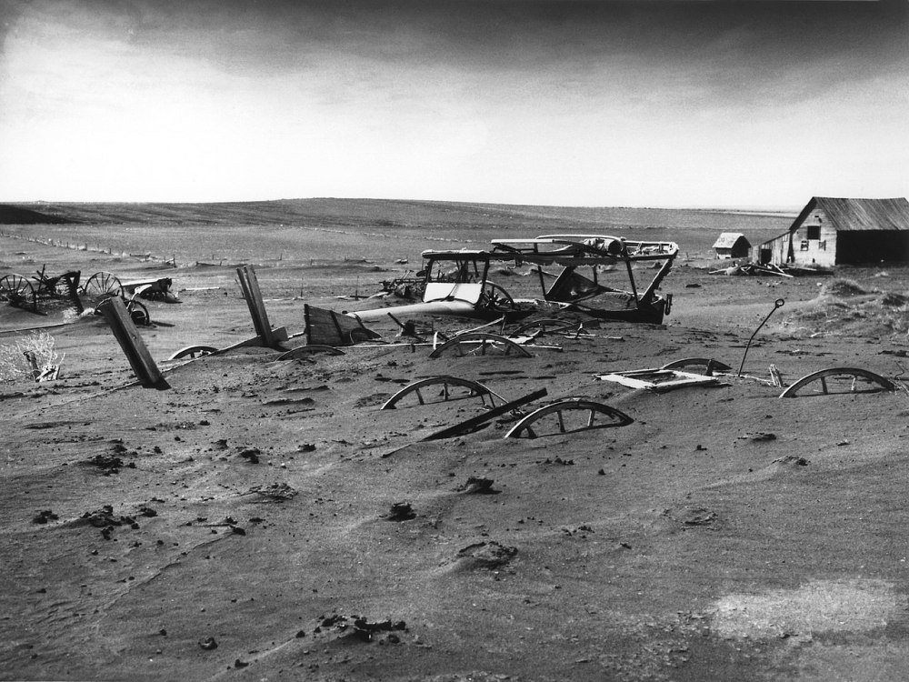 13 May 1936. The Dust Bowl. Buried machinery in barn lot in Dallas, South Dakota, 13 May.jpg