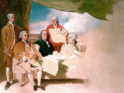1783. Treaty of Paris (by Benjamin West). American Commissioners of the Preliminary Peace Agreement with Great Britain.jpg