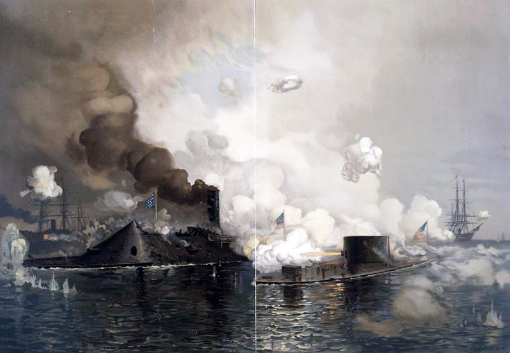 1862. USS Monitor in action with CSS Virginia, 9 March.jpg