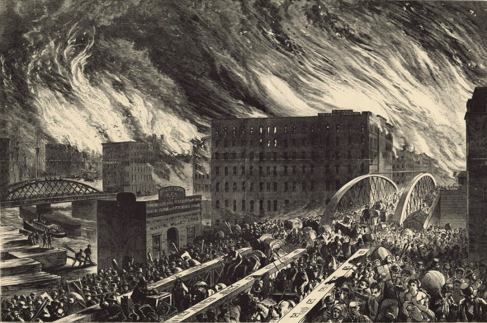 1871. The Great Chicago Fire, an artists rendering, Chicago in Flames -- The Rush for Lives Over Randolph Street Bridge.jpg
