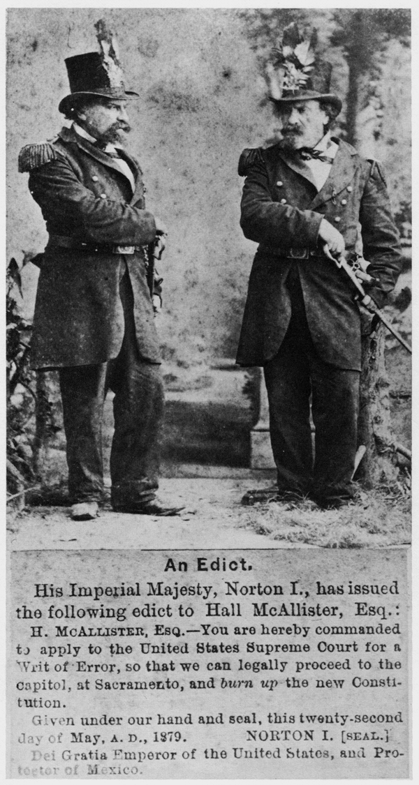 1879. Press cutting with Emperor Norton the First photo and text of his edict.png