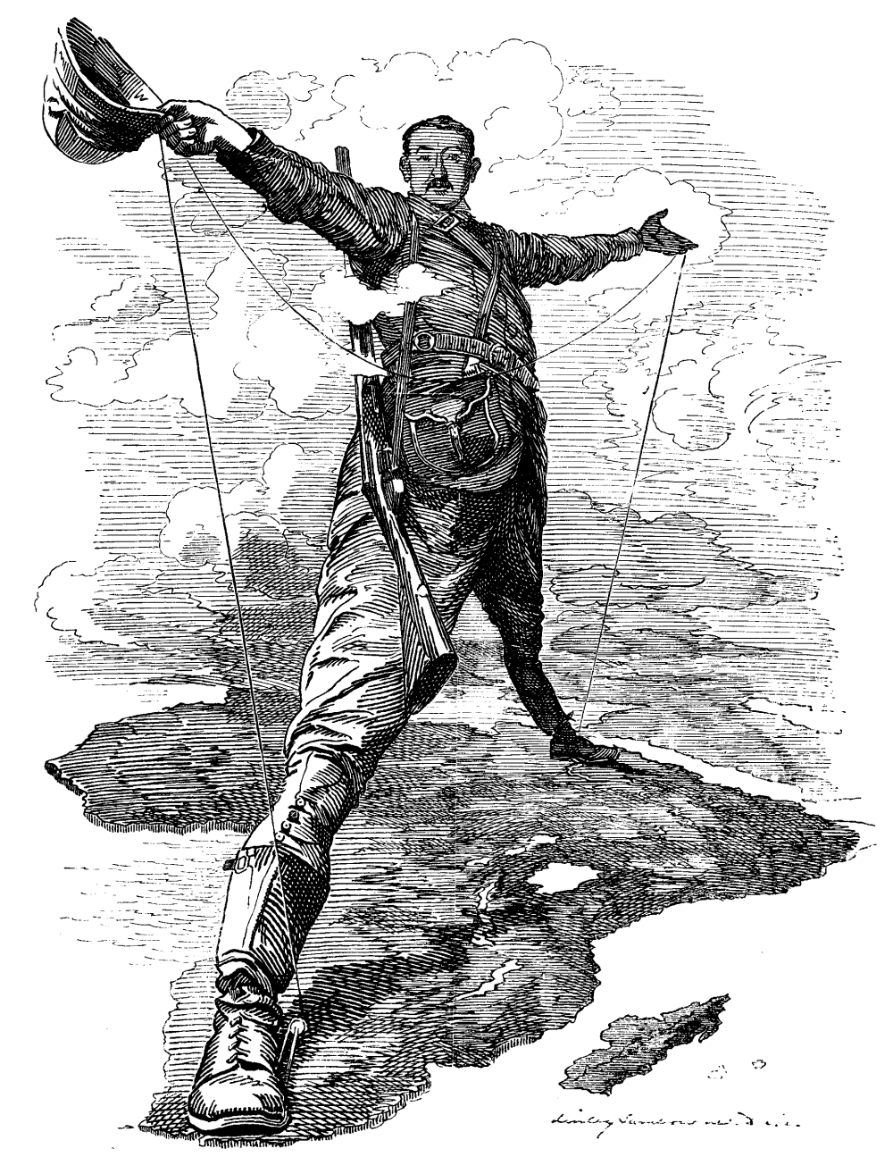 1892. Caricature of Cecil John Rhodes, after he announced plans for a telegraph line and railroad from Cape Town to Cairo, 10 December.png