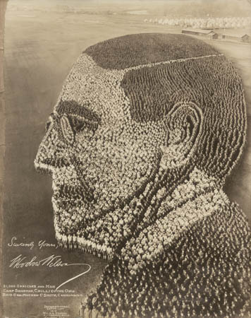 1918. Woodrow Wilson, Camp Sherman, Ohio, using 21,000 men at Camp Sherman in Ohio and stretched over 700 feet.jpg