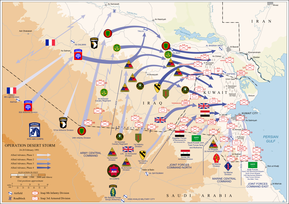 1991. Ground troop movements 24-28 February during Operation Desert Storm.png