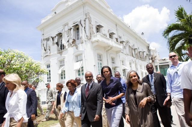 2010. Haiti earthquake National Palace. Michelle Obama.jpg