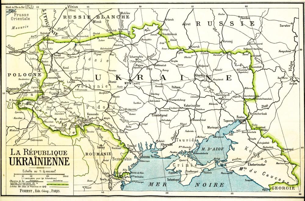 Карта Української Республіки, підготовлена Делегацією об'єднаної УНР на Мирову конференцію, 1919 р..jpg