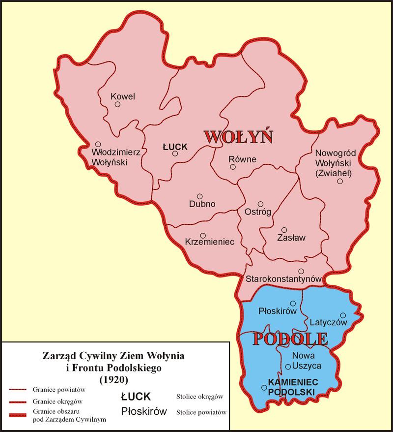 Схематична карта повітів, що входили до складу Цивільного управління земель Волині та Подільського фронту. Джерело Вікіпедія.jpg