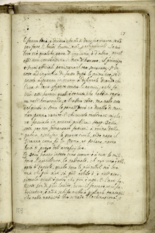 1602. Pagina manoscritta de «La città del sole» di Tommaso Campanella