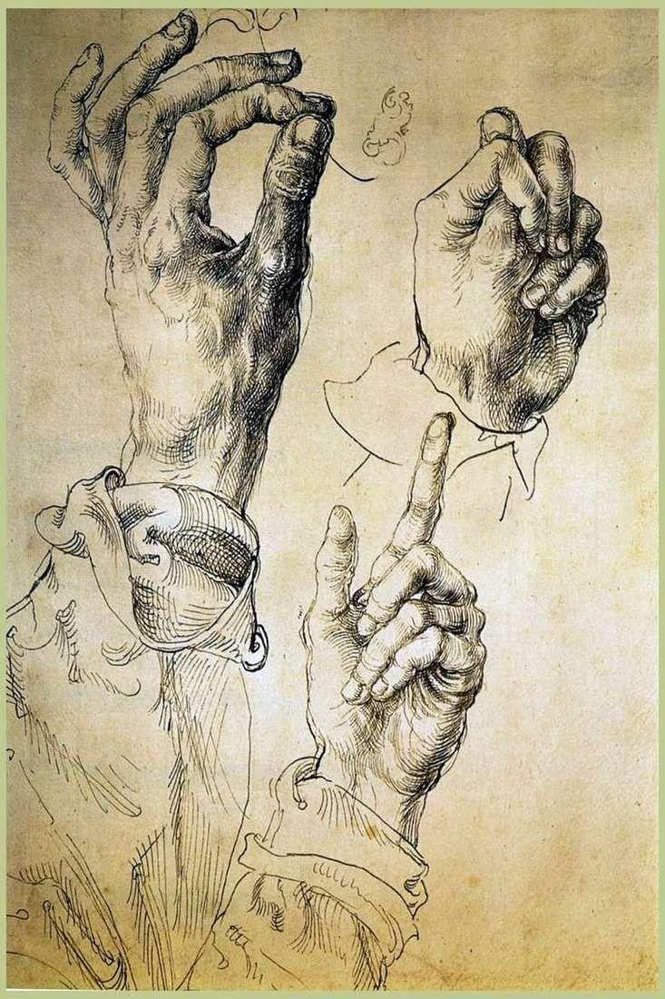 Етюд «Руки» (туш, перо, папір)