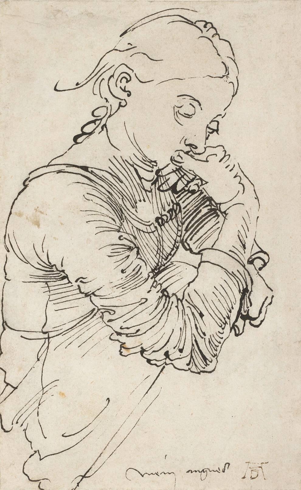 Портрет дружини Агнеси Фрай, 1495 р. (рисунок тушшю на папері, Альбертіна, Відень)