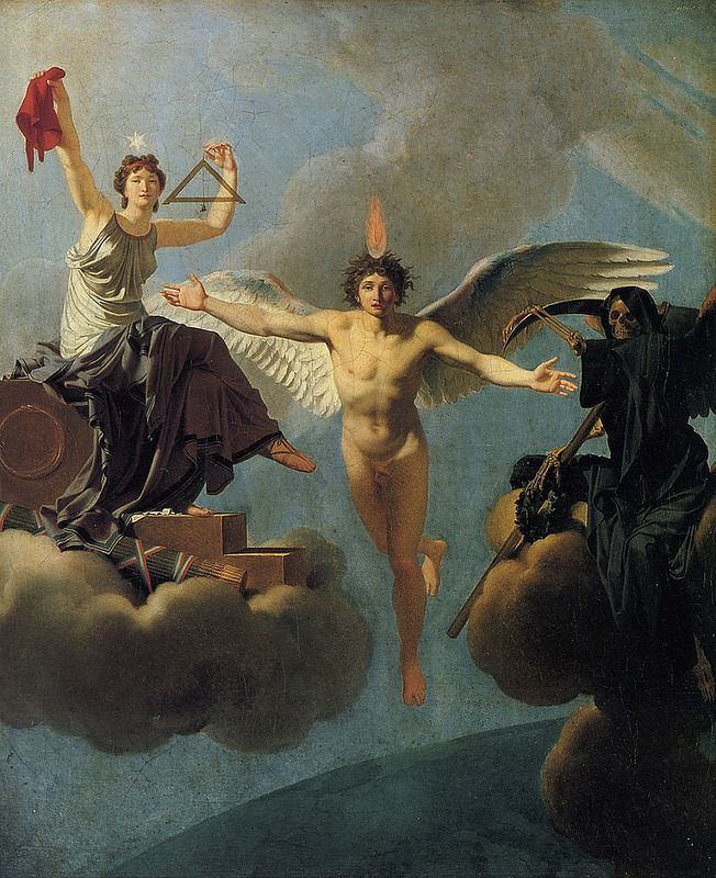 La Liberté ou la Mort (1795) by Jean-Baptiste Regnault. Note the red Phyrigian cap, a symbol of the French revolution also associated by some with Freemasonry